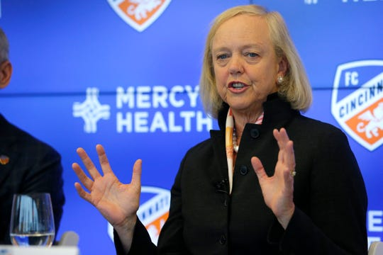 New managing owner Meg Whitman speaks during a press conference at Great American Tower in downtown Cincinnati on Monday, Dec. 9, 2019. FC Cincinnati hosted a press conference to introduce Meg Whitman, who joins the team as a managing owner.
