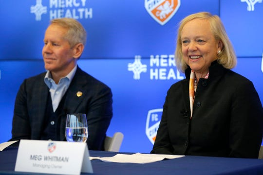 New managing owner Meg Whitman is introduced during a press conference at Great American Tower in downtown Cincinnati on Monday, Dec. 9, 2019. FC Cincinnati hosted a press conference to introduce Meg Whitman, who joins the team as a managing owner.