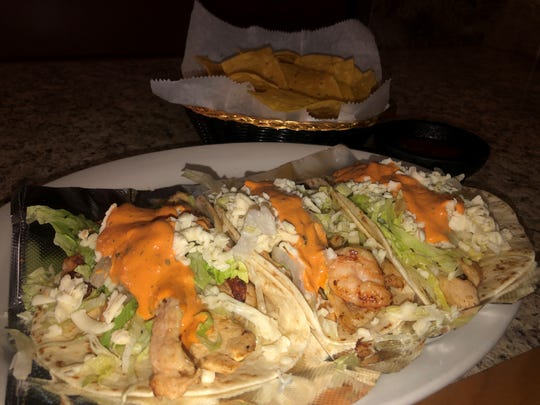 Chicken and shrimp street tacos are available at Los Hermanos Mexican Grill, 1302 Fort Campbell Blvd.