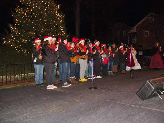 The River View Certified Gold Ensemble performed during the Dec. 7 Christmas Candlelighting ceremony in Roscoe Village.