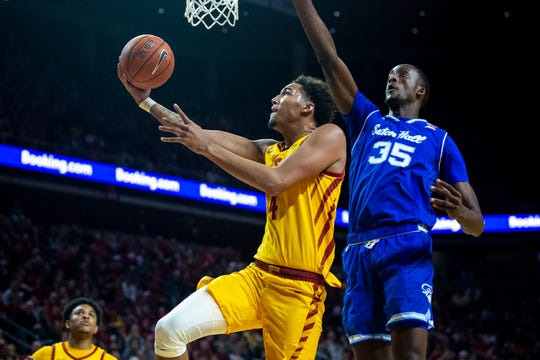 Iowa State's George Conditt shoots the ball during the Cyclones men's basketball game against No. 15 Seton Hall on Sunday, Dec. 8, 2019, at Hilton Coliseum in Ames.