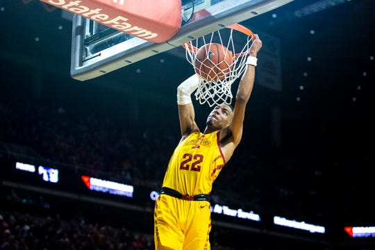 Iowa State's Tyrese Haliburton dunks the ball during the Cyclones men's basketball game against No. 15 Seton Hall on Sunday, Dec. 8, 2019, at Hilton Coliseum in Ames.