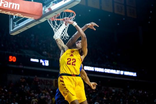 Iowa State's Tyrese Haliburton gets tangled up in a defender while shooting during the Cyclones men's basketball game against No. 15 Seton Hall on Sunday, Dec. 8, 2019, at Hilton Coliseum in Ames.