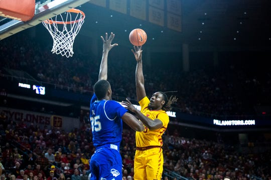 Iowa State's Solomon Young shoots the ball during the Cyclones men's basketball game against No. 15 Seton Hall on Sunday, Dec. 8, 2019, at Hilton Coliseum in Ames.