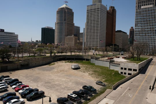 The former site of the Ford Auditorium used as a parking lot next to Hart Plaza in downtown Detroit is seen on Tuesday, May 1, 2018.