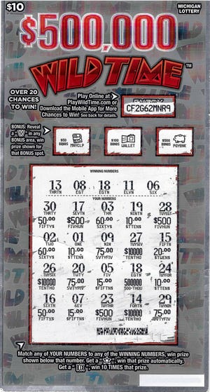 Jesse Fravala, 23, from Drummond Island won $500,000 playing the Wild Time instant game from the Michigan Lottery.