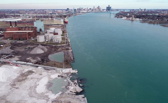 An aerial view, as seen on Saturday, December 7, 2019, of the Detroit property located next to Historic Fort Wayne where on November 26th 2019, the ground here contaminated with uranium and other dangerous chemicals partially collapsed into the Detroit River.