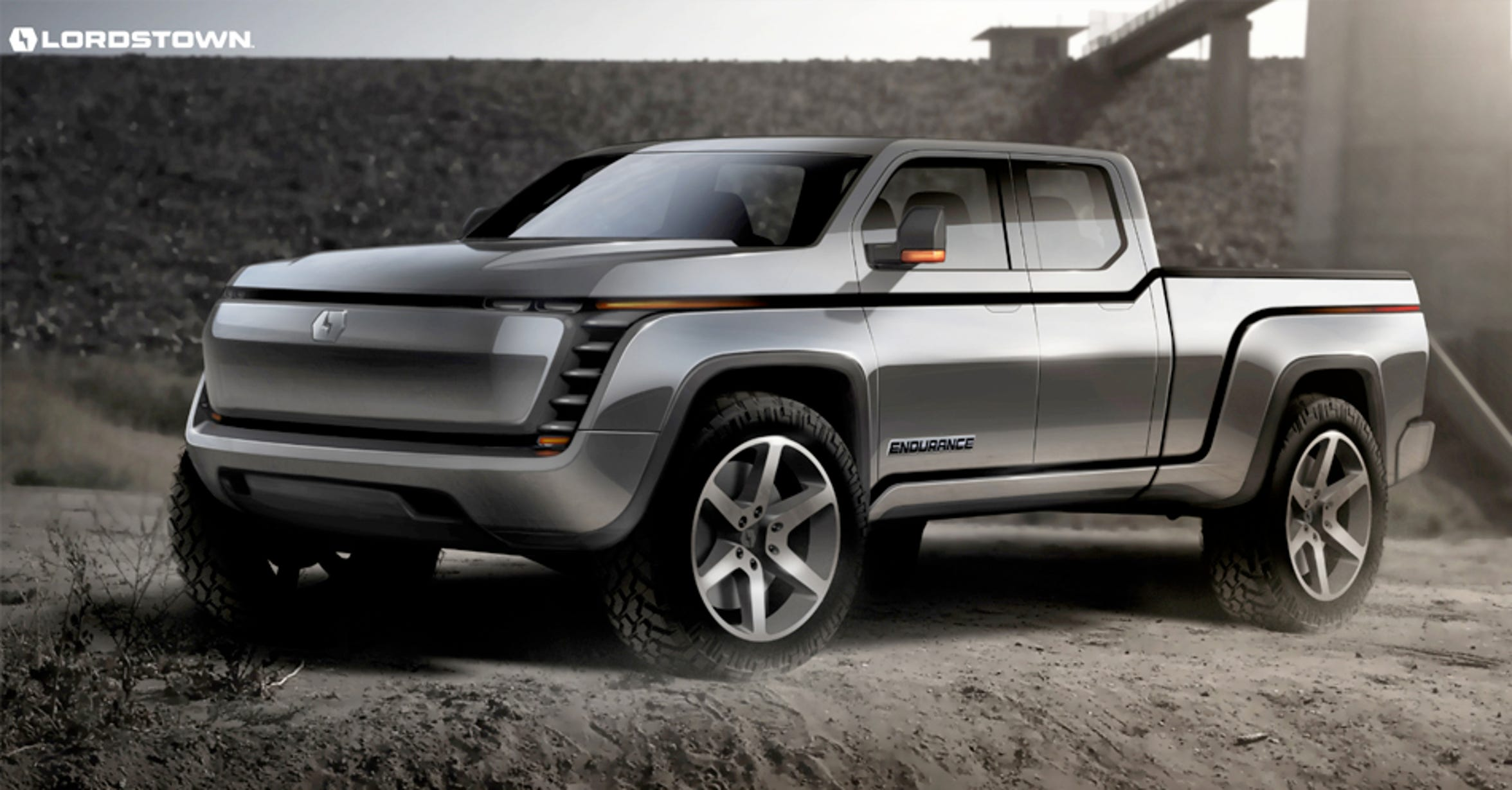 A artist rendering of the Lordstown Endurance electric pickup.