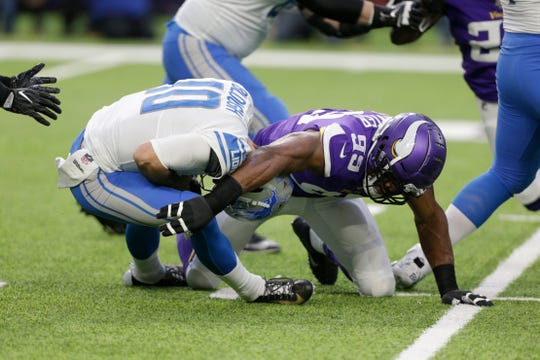 Lions quarterback David Blough (10) was sacked five times by the Vikings on Sunday.