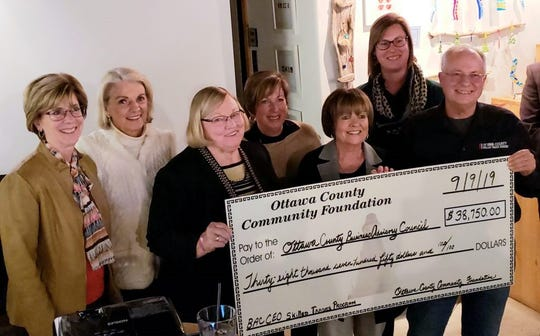 A  grant for $38,750 was awared by the Ottawa County Community Foundation to the Ottawa County Improvement Corporation. Left to Right: Marcia Jess (OCCF), Mary Coffee (OCCF), Jan Preston (OCCF), Tina Hablitzel (OCCF), Joy Roth (OCCF, President), Jamie Beier Grant (OCIC Director) and Jim Lippert (Skilled Trades Academy)