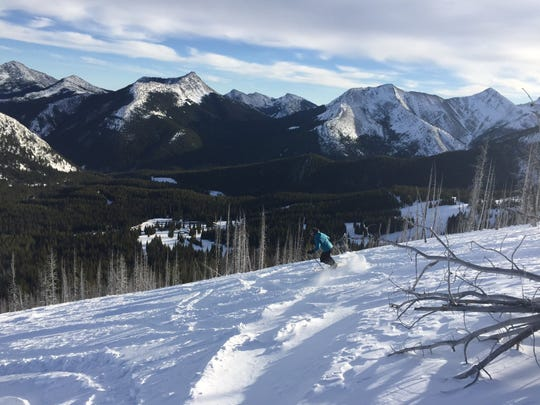 Back-country skiing in the Rocky Mountains along the Teton River drainage