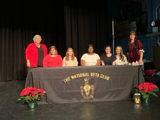 Shown in the photo are Sponsor Laura Carr, President Paisley Lowery, Vice President Kendra McDowell, Treasurer Jariah McDaniel, Community Service Coordinators Emma Thomas and Addison Whitledge, and Sponsor Nikki Conway.