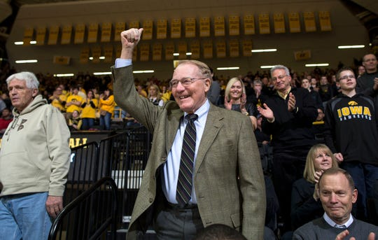 In this 2015 photo, former Iowa athletics director Bump Elliott is honored by the Carver-Hawkeye Arena crowd for his 90th birthday.