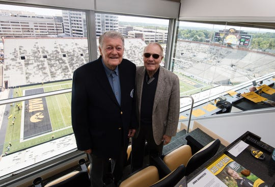 In a recent photo, Hayden Fry and the late Bump Elliott are shown in the Kinnick Stadium press box.