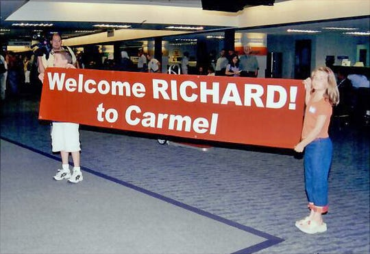 Welcome signs at the Indianapolis International Airport for Richard Jewell.