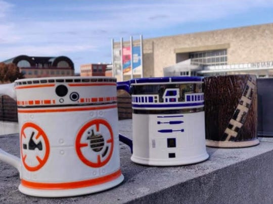 "Coffee mugs inspired by BB-8, R2-D2 and Chewbacca are part of a ""Star Wars: The Rise of Skywalker"" scavenger hunt."