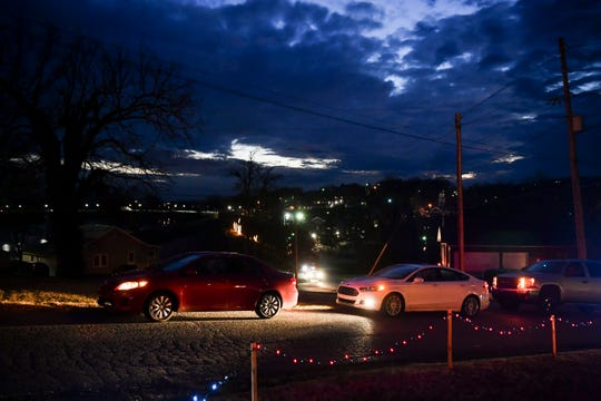 Cars are lined up early to see Mountain View Church's drive-through nativity on Friday, December 6, 2019.