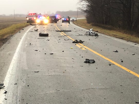 The driver of a minivan died at the scene of this Montgomery County crash on Indiana 32 near Montgomery County Road 900 East.