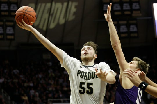 Purdue guard Sasha Stefanovic (55) goes up for a layup during the second half of a NCAA men's basketball game, Sunday, Dec. 8, 2019 at Mackey Arena in West Lafayette.