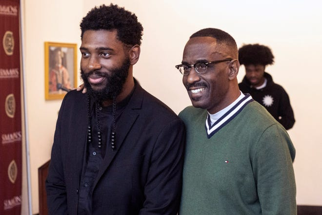 Jecorey Arthur, left, posed with Simmons College president Dr. Kevin Cosby after a press conference where Arthur announced his run for the open Louisville Metro Council District 4 position in 2020. Dec. 9, 2019