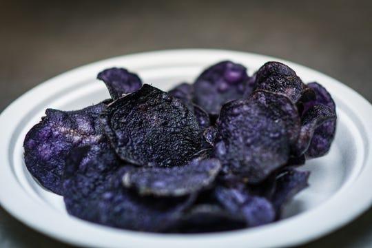 Potato chips made from Michigan State University's Blackberry potatoes.