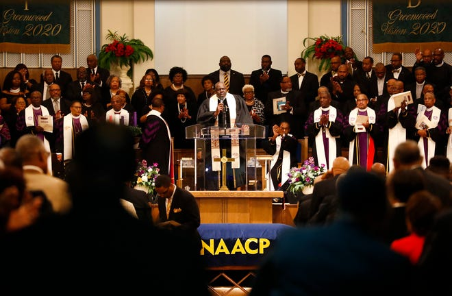 Hundreds of people gather to celebrate the life of Bishop William Graves, Sr., the 42nd Bishop of the Christian Methodist Episcopal Church, on Monday at Greenwood CME Church.