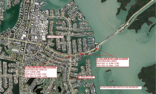 Marco Island Police Department alerted last week of additional road closures.