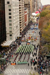 The Greendale High School Marching Band performs during the 2016 Macy's Thanksgiving Day Parade in New York. The band has been invited to participate in the 2020 Rose Bowl Parade.
