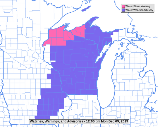 Almost all of Wisconsin was covered by winter weather advisories or warnings at midday on Monday.