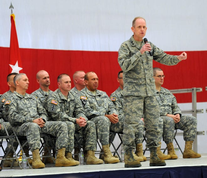 Maj. Gen. Donald Dunbar gives remarks during a sendoff ceremony at the 128th Air Refueling Wing in Milwaukee in this 2014 file photo. The troops, based in Sussex, offered high mobility artillery rocket support to coalition troops operating in Afghanistan.
