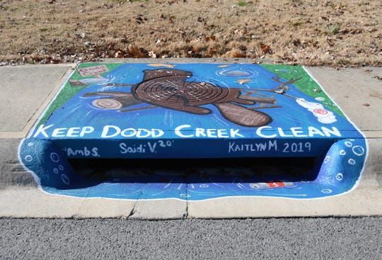 This storm drain was painted by Mountain Home High students Saidi Villalvazo, Amberly Schaffer and Kaitlyn Miller. It can be found across the street from Mitchell's Variety Discount Grocery on Bomber Boulevard.
