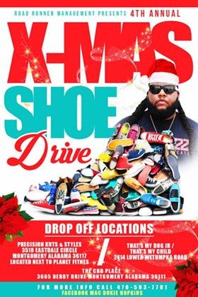 Mac 'Dukie' Hopkins hopes to collect at least 100 pairs of shoes to donate to Montgomery children in need.