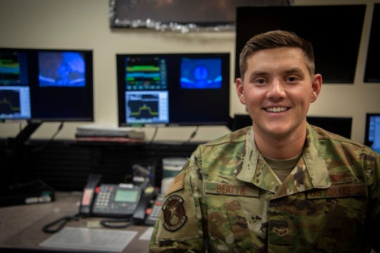 Airman 1st Class William Beattie, 4th Space Operations Squadron Advanced Extremely High Frequency satellite mission control sub-systems operator, sent the first command to the new AEHF-5 satellite Nov. 23, 2019, at Schriever Air Force Base, Colorado. Despite being an Airman First Class, Beattie was able to send the first command, impacting warfighters across the world.