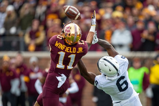 Minnesota safety Antoine Winfield Jr. (11) intercepts a pass intended for Penn State wide receiver Tyler Johnson (6) in  on Nov. 9, 2019.