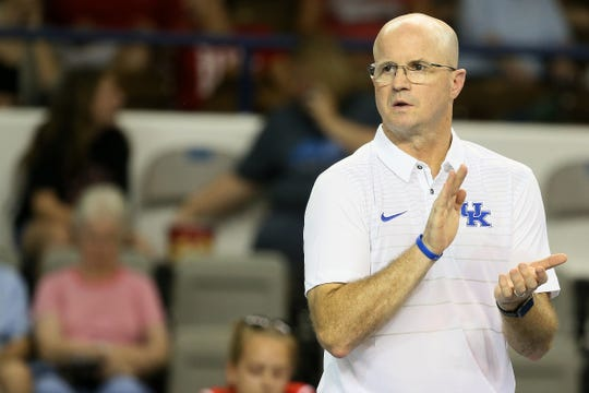 University of Kentucky volleyball's Craig Skinner coaches against Western Kentucky in an exhibition match at Memorial Coliseum in Lexington, Ky., on  August 16, 2017.