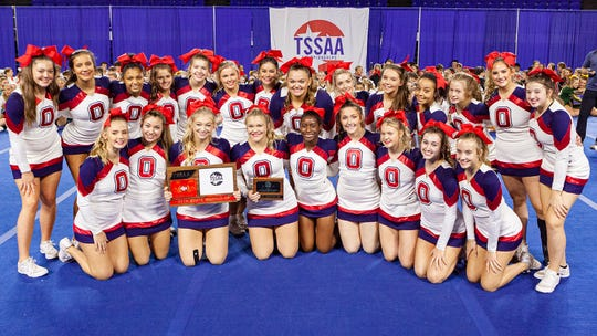 Oakland High at the 2019 TSSAA Cheerleading Championships, held Saturday, Dec. 7 at Middle Tennessee State University in Murfreesboro.