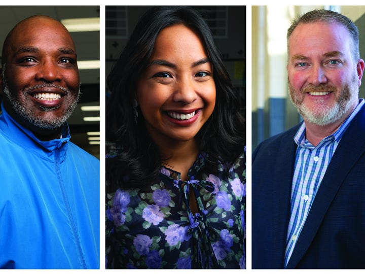 Among those in Murfreesboro Magazine's inaugural class of Top Teachers, are, from left, Dedrick Roberts, Kaitlin Supakhan, Web Hutchings and Anna Pearcy.