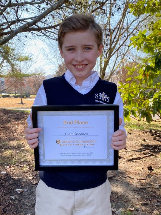 Liam Mooney, a student at St. Matthew Catholic School in Williamson County, won second place in a prestigious science competition for his idea of using graphene, a material stronger than steel, in a new way.