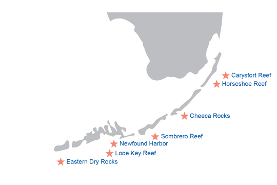 A map showing the location of the seven iconic reef sites proposed as focal areas for large-scale restoration.