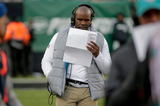 Miami Dolphins head coach Brian Flores walks the sidelines during an NFL football game against the New York Jets, Sunday, Dec. 8, 2019, in East Rutherford, N.J. (AP Photo/Seth Wenig)