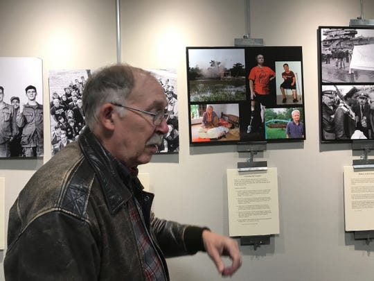 Veteran Jan Barry at the Oakland Library exhibit.