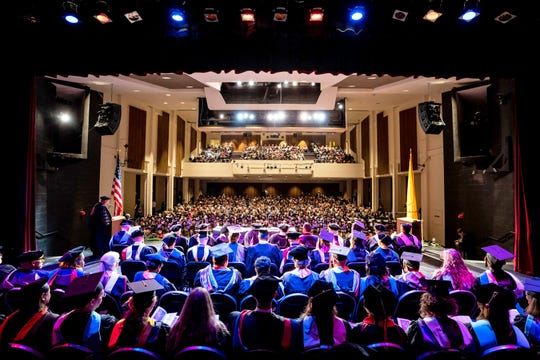 Western New Mexico University fall graduates will be honored with a commencement ceremony on Friday, December 13, 2019, at 2 p.m. in the Fine Arts Center Theatre. Pictured are graduates at last fall's ceremony.