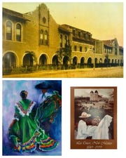 """From left to right, top down: Three mini-mural art designs, including an old photo of Loretto Academy, a painting called """"Fiesta"""" by Kathleen Squires and a sesquicentennial advertisement by Fred Chilton."""