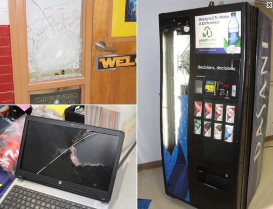 Some of the damage police say was caused by juvenile brothers who broke into Lynn Middle School on Sunday, Dec. 8, 2019.