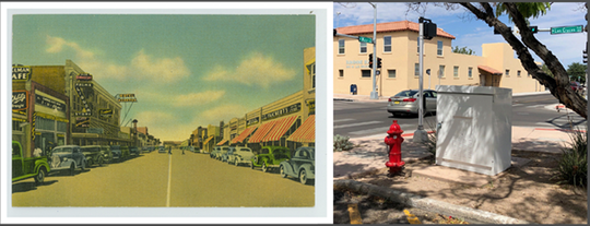 """A postcard of historic Main Street will adorn one of the traffic control cabinets in downtown Las Cruces as part of """"Artscapes."""""""