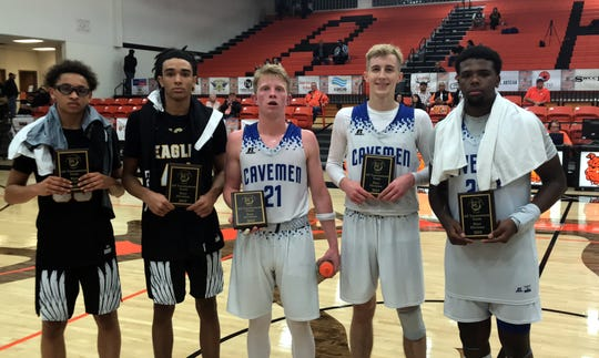 Left to right: Hobbs' Jalen Goar, Teren Smith and Carlsbad's Andrew Miller, Evan Sullivan and Shamar Smith were named the 2019 Artesia City of Champions All-Tournament team. All five players faced off in the championship game with Carlsbad coming away with a 57-49 win on Dec. 7, 2019.