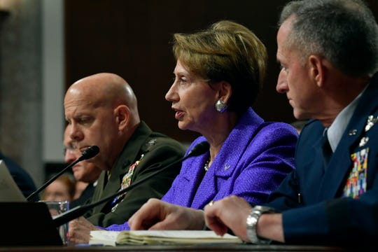 Secretary of the Air Force Barbara M. Barrett provides testimony to the Senate Armed Services Committee in Washington, D.C., Dec. 3, 2019. The committee examined privatized military housing for service members and their families.