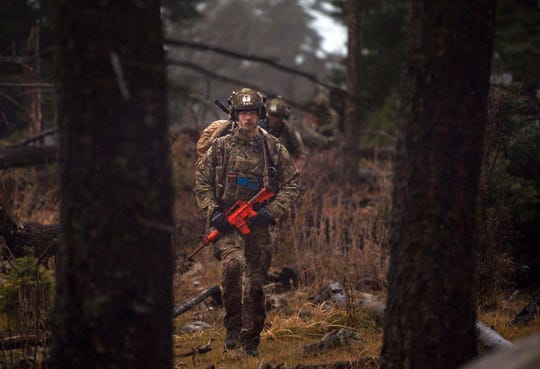 Tactical Air Control Party Airmen perform a land navigation test in Cloudcroft, N.M., Nov. 20, 2019. The 24 Airmen were pushed for four long days and nights, and had to perform tasks individually and as a team, in the dry desert climate of Fort Bliss, Texas, and the nearby cold, mountain village of Cloudcroft.