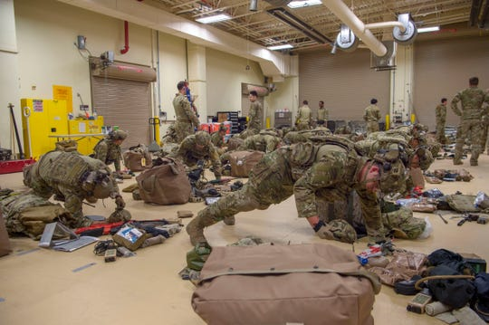 Tactical Air Control Party Airmen check their gear before going out to a training site on Fort Bliss, T.X., Nov. 18, 2019. The Combat Mission readiness check ride marks an important milestone in the Airmen's careers and allows them an opportunity to achieve the 93rd Air Ground Operations Wing standard for combat readiness.