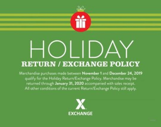Military shoppers have no need to worry if the holiday gift they got isn't quite perfect—the Army & Air Force Exchange Service is extending its return policy for the holiday season! Gifts purchased Nov. 1 through Dec. 24 can be returned with a receipt through Jan. 31.
